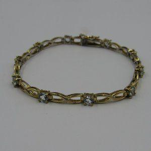"Jewelry - 7.5"" Sterling Rustic Gold Tone Blue Topaz Bracelet"